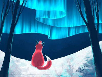 Fox and northern lights aurora borealis winter northern lights fox landscape digital art digital illustration limited colours limited colour palette art illustration