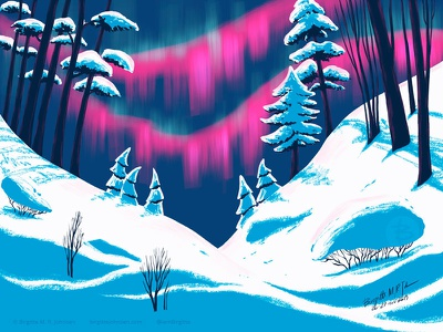 Northern lights aurora borealis northern lights winter scenery landscape digital art digital illustration limited colours limited colour palette art illustration