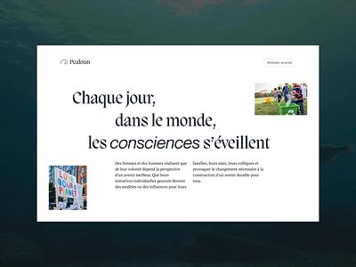 Pealoun — Website branding interface ui association interaction 0 waste plastic ocean sea fish design ecology