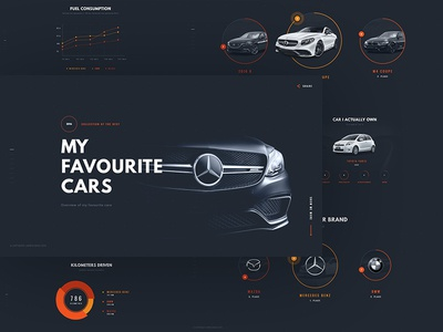 My favourite cars mercedes cars web website simple clean design infographic