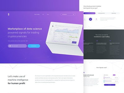 Signals web design dashboard wallet bitcoin white ux ui token crypto clean simple web
