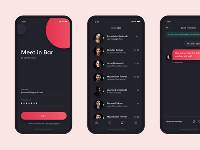Meet in bar real work czech wolinger chat interface dark simple ios ux ui design app