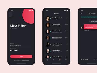 Meet in bar real work czech wolinger chat interface dark simple ios ux ui design app