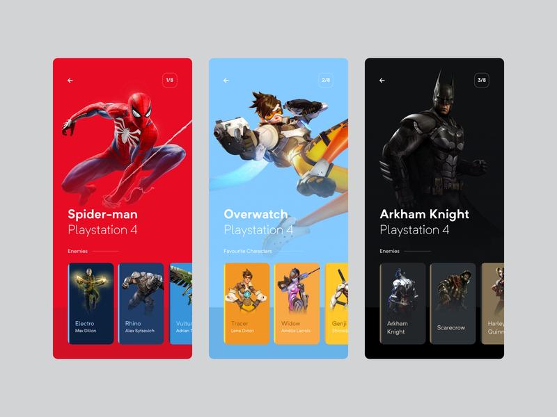 My favourite games design design app app concept exploration visual spiderman batman overwatch playstation4 games simple ui  ux design clean minimal