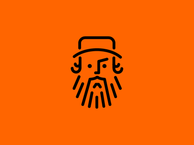 Aaron James Draplin outline icon beard