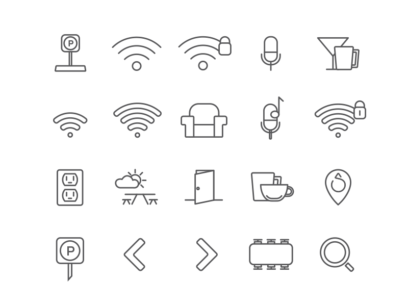 siphonography siphon tea drinks wifi coffee monoline illustration icons