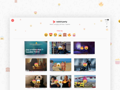 Watch Party 2 youtube red emojis reactions party watch apple tv ui web design hackathon video