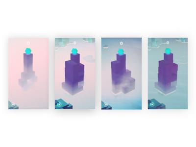 Morning Fog tower stack blox unity ios fog environment app design 3d design game dev game design