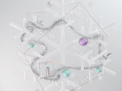 Nicer Christmas ornaments lights illustration snow white holidays christmas branding 3d