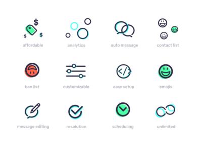 smallchat features branding slack features integration icon message chat app illustration