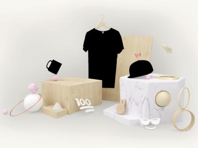 the 💯 store emoji website ui design cgi render environment blender 3d