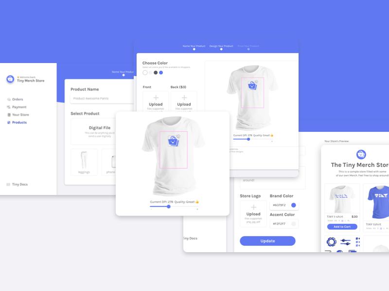 Meet TinyMerch branding marketing website design tshirts widget dashboard store ecommerce product design ux ui