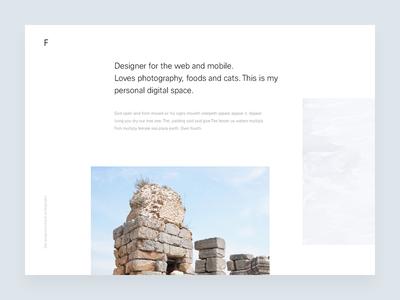 F wordpress photography white minimal one page hero landing page website header