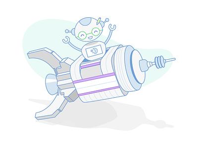 Rocket Robot robot mascot logojoy illustration