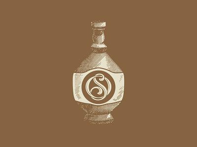 Vintage bottle with monogram vintage logo retro illustration artisan handdrawn design handmade rustic vintage bottle monogram