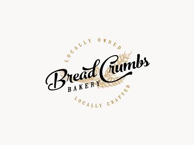 Bread  Crumbs hand-drawn wheat bakery bread vintage grain vintage logo handmade craft bakery rustic retro