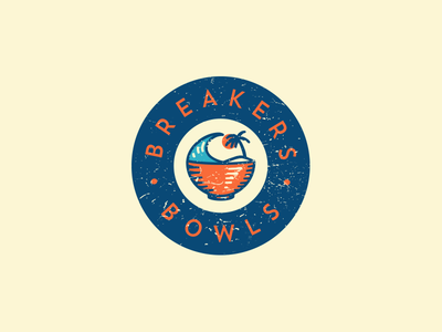 Breakers Bowls illustration logo badge coffee palm sun wave cafe healthy acai bowl