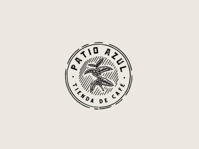 Patio Azul Badge vintage azul coffee plant handdrawn badge logo coffee coffee bean