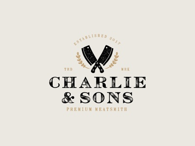 Charlie & Sons Premium Meatsmith handdrawn rusty textured rustic cleaver vintage leaves meat logo butcher