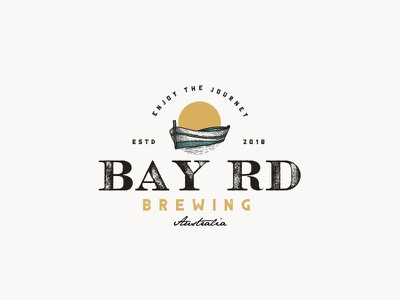Bay Rd Brewing boat sail sun illustration vintage logo brewery beer brewing company