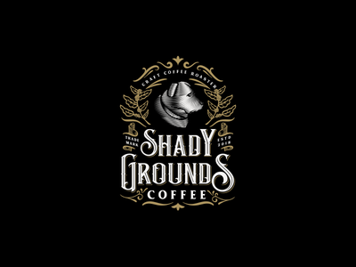 Vintage logo for Shady Grounds Coffee rottweiler handmade coffee roaster artisan etched engraving etching vintage logo coffee