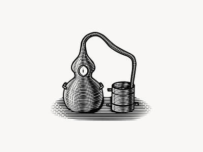 Alembic Still Illustration illustration handmade vintage engraving etching whiskey beverage distillery still alembic still