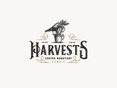 Harvest Coffee Roastery Logo coffee shop rustic ornamental coffee plant bird logo vintage artisan roaster coffee hand-drawn