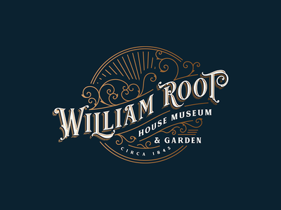 William Root House Museum & Garden gradient gold gold foil museum typography badge logo artisan rustic hand-drawn handdrawn vintage