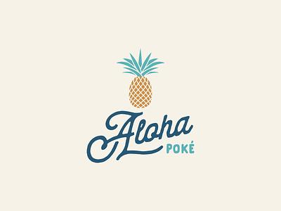 Aloha Poke Logo Design logo minimal modern clean colorful art art eat food hawaii handmade youthful colorful poke bowl poke restaurant poke aloha