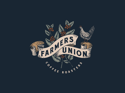 Farmers Union Coffee Roasters vintage logo illustration rustic coffee bar logo rooster logo artisan vintage rooster handmade handdrawn roaster coffee