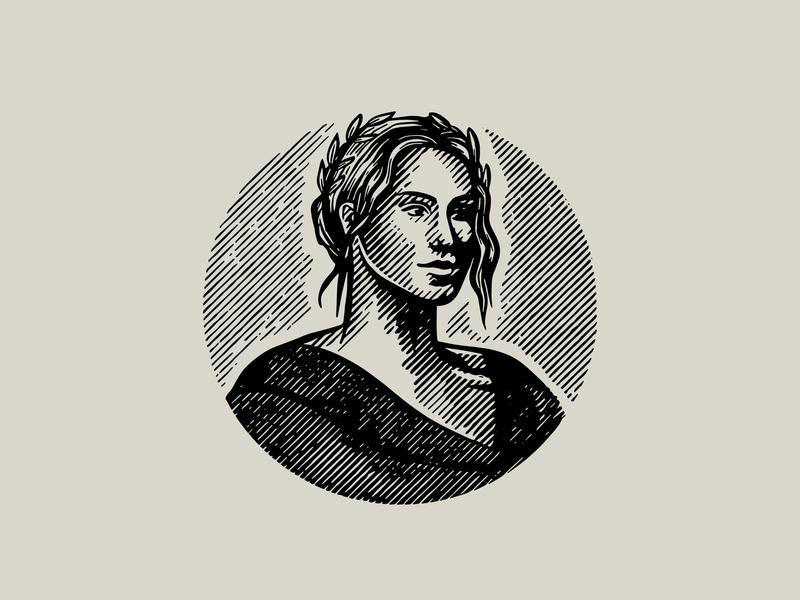 Goddess Illustration hand-drawn greek mythology lady woman linocut woodcut handdrawn vintage artisan illustration etching goddess greek