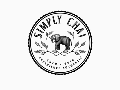 Simply Chai Badge leaves elephant chai handdrawn badge vintage logo illustration handmade rustic logo artisan hand-drawn vintage branding