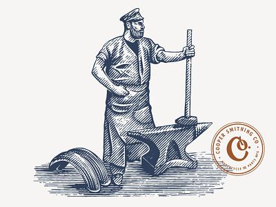 Cooper Smithing Co vintage rustic artisan hand-drawn illustrations smithing blacksmith digital art handdrawn etching illustration