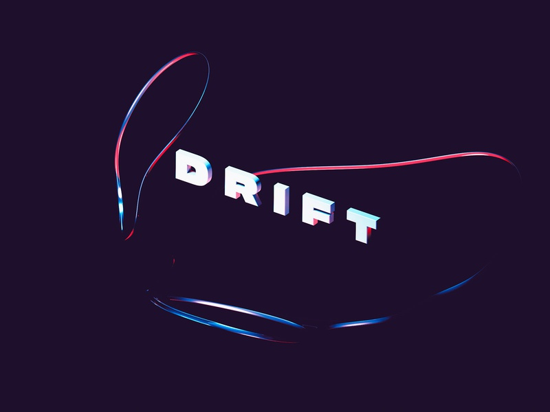 Drift - 3D Abstract Lettering cinema4d redshift octane float 3d lettering 3d art 3d text 3d type illustration photoshop cinema 4d clean modern 3d typography lettering abstract