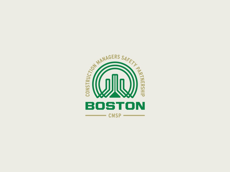 Boston Construction Safety – Logo design boston design green gold city structure building monogram badge retro logo retro line logotype logo safety construction boston