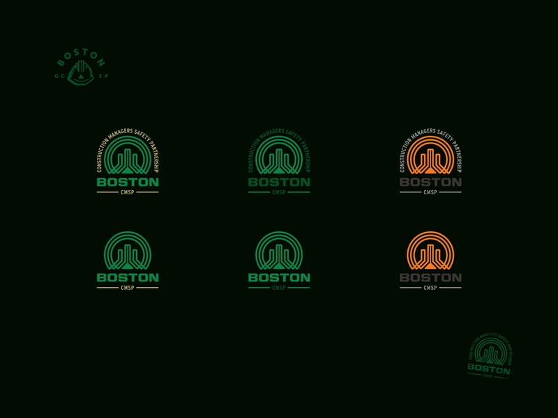 Boston Construction Logo Variations building construction retro styleguide branding badge logotype color guide style guide variations colours color logo boston