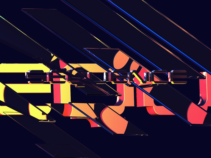 Sequence - Cinema 4D Abstract Art 3d artist 3d text effect 3d art illustration typography custom typeface lettering type 3d text render physical c4d cinema 4d abstract abstract art 3d