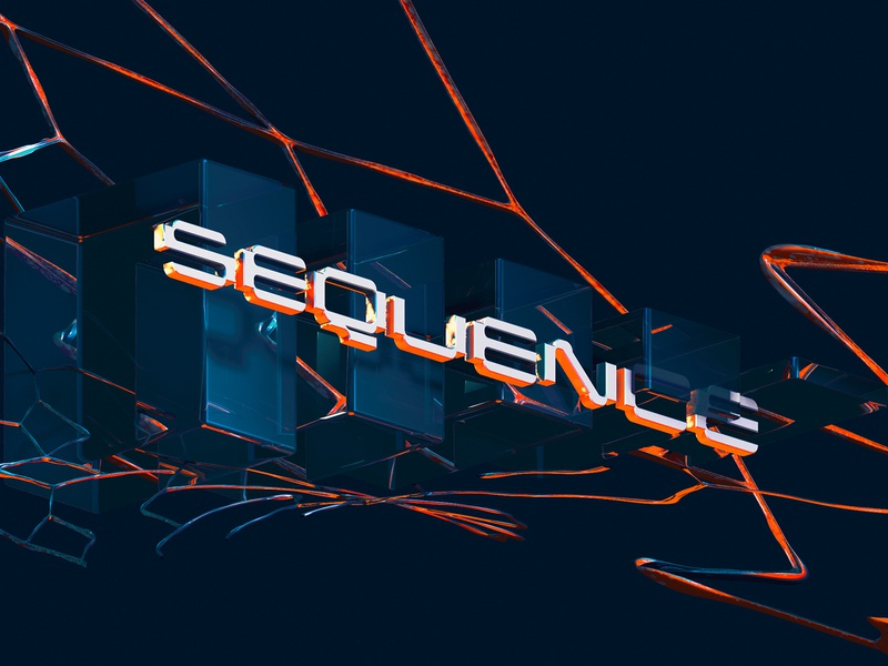 Sequence - Cinema 4D Abstract Art futuristic blue orange photoshop cinema 4d physical render 3d text design type lettering abstract typography cinema4d cinema 3d art 3d