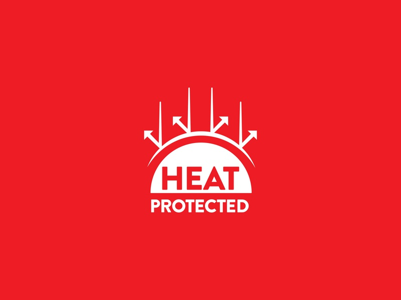 Heat Protected Logo balanced clever minimal simple logotype design typography type flames hot logo bounce reflect shield protect heat