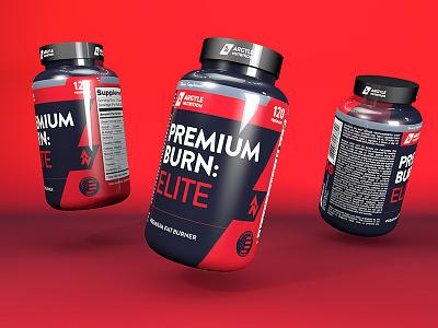 Premium Burn: Elite powder gym bottle fat loss cinema 4d nutrition whey label protein supplement
