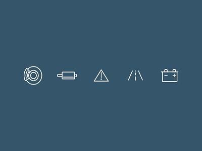 Mobile Mechanic Icons 1/2 warning road battery exhaust brake vehicle car mechanic mobile icons