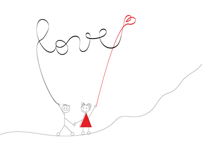 A Love Story lines simple love freehand doodle