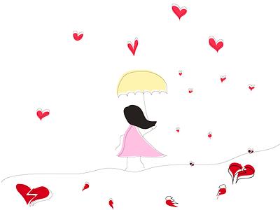 Raining Broken Hearts illustrator colorful shapes illustration graphic design