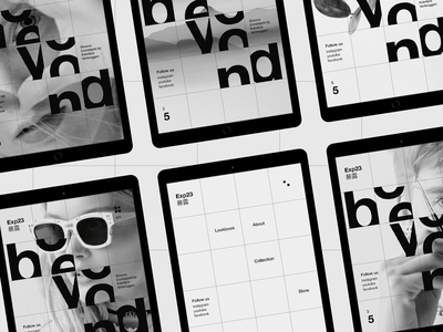 Exp23 #2 grid tablet miniproject concept ui black  white typography minimal