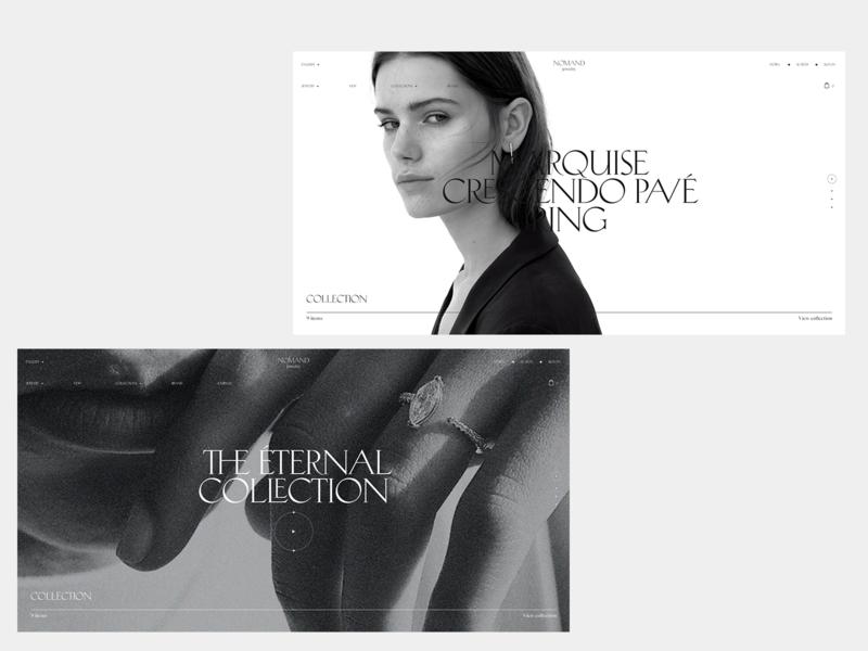 Nomand jewelry #6 blackandwhite desktop concept store jewelry serif typography minimal