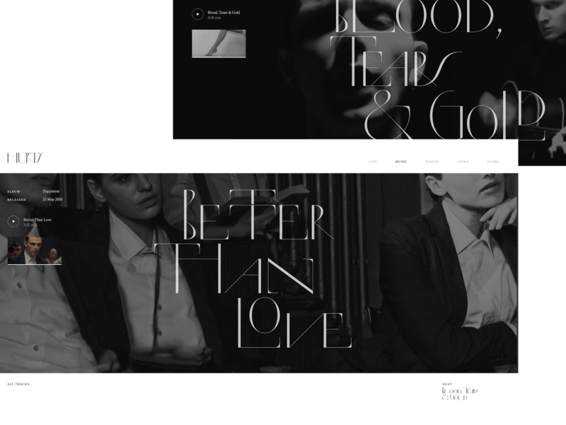 Hurts Concept 2 concept blackandwhite website web clean typography music hurts