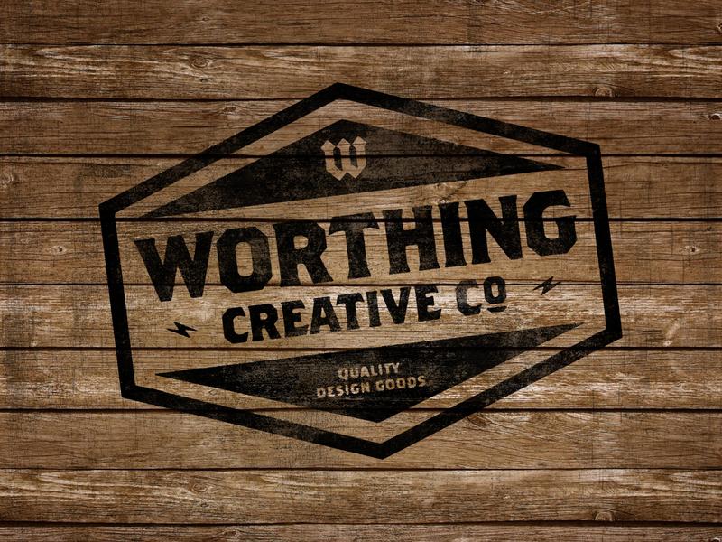 Worthing Creative Co Badge | Stamp on Wood wood wood burn vintage badges badge design badge vintage badge vintage distressed grunge texture grunge graphic  design create design