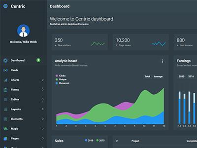 Centric Dark Layout ui chart dashboard bootstrap app admin angularjs dark