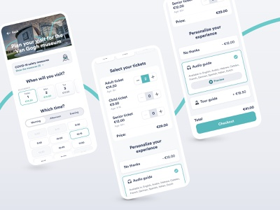 Museum tickets booking concept add-on inputs covid19 new timeslot date picker datepicker tickets minimal neomorphism museum tourism app interface ux ui travel