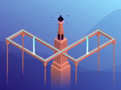The land Of Impossible infinity monument valley symmetry geometry 3d isometric illustration